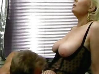 Retro German Blonde Cougar Gets Her Hairy Vag Tongued In The Office