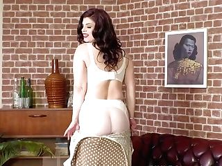 Curvy Big Tits Honey Lucia Love Strips Off Antique Undergarments...